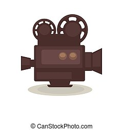 Vintage filming camera isolated on white. Eternal symbol of...