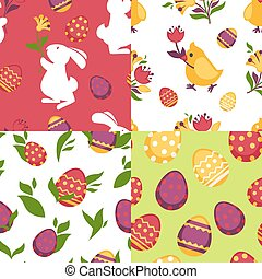 Easter poster of colorful pictures with traditional...