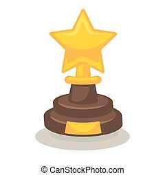 Trophy in form of star on pedestal isolated on white...