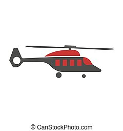 Cartoon helicopter or rotor plane icon in flat design -...