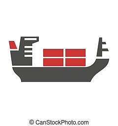 Ship with baggage silhouette vector logo icon on white....