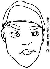 vector sketch of a young man in a beret - Black and white...