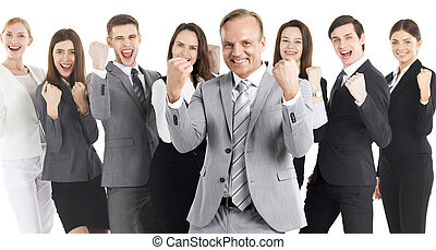Successful business people team - Successful excited...