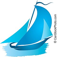 Blue ship with sails