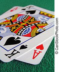 Blackjack! - Blackjack an ace and a king make 21 close up.