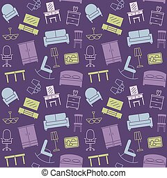 Furniture seamless color pattern. Background, illustration, vector, endless texture.