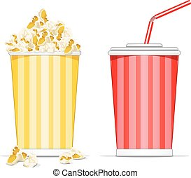 Popcorn and coke cup - Vector illustration of popcorn in a...