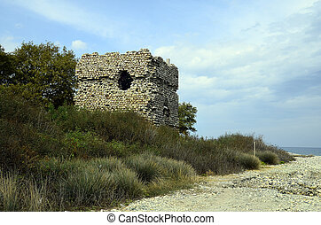 Greece, Samothrace Island, medieval Gattelusi tower aka...