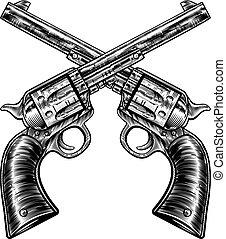 Crossed Pistol Gun Revolvers Vintage Woodcut Style - A pair...