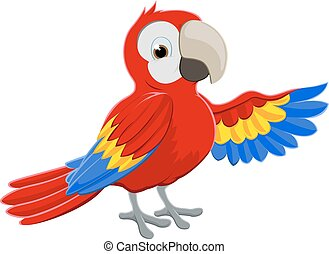 Cartoon Parrot Pointing - Cartoon red parrot bird character...