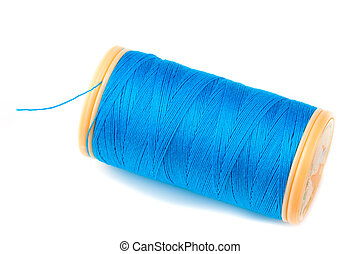Blue Thread - Blue Threas on reel on white background