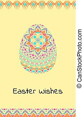 Vector Happy Easter background with easter egg, mandalas pattern and tribal geometric borders. Ethnic theme