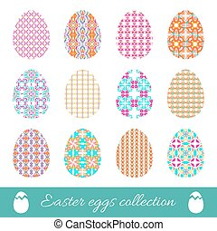Set of vector easter eggs with spring ornament. Collection of decorative elements with bright patterns to Easter