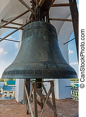 The bell on The belfry of the Dormition Cathedral in Kremlin of Rostov the Great as part of The Golden Ring's group of medieval towns of the northeast of Moscow, Russia. Included in the World Heritage list of UNESCO.