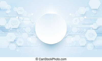 Abstract hexagons, lines technology digital hi tech and icons concept background
