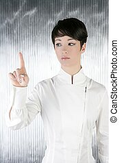 futuristic businesswoman finger touching pad - futuristic...
