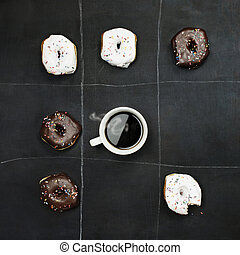 Tic Tac Toe Donuts and Coffee - Tic Tac Toe donuts and...