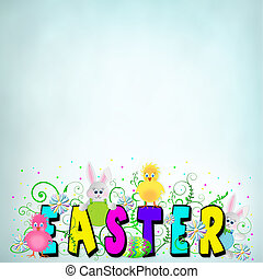 Easter Graphic Typography Background - Vivid colors in text...