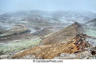 Snowstorm at Tichka pass, the High Atlas mountains, Morocco