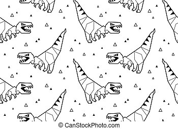 Origami pattern background with dinosaurs - Seamless origami...