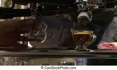 Coffee machine in a cafe. - Making espresso and cocktails in...
