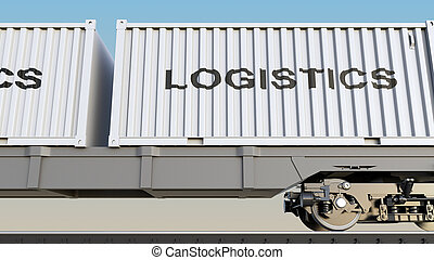 Cargo train and containers with LOGISTICS caption. Railway...