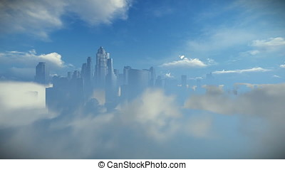 City skyline above clouds, zoom in