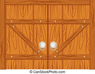 wooden old door, home interior isolated on white background