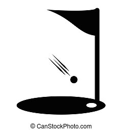 Flags of golf course icon