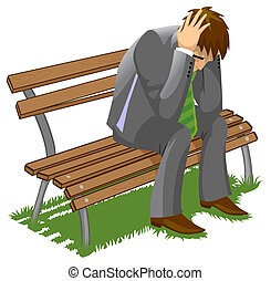 confusion - Businessman sitting on a bench