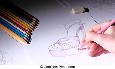 Designer women's shoes fashion shoes sketch paints pink....