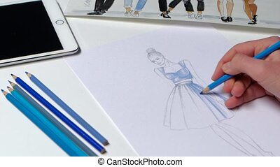 Designer fashion dashed movements paints sketch youth...