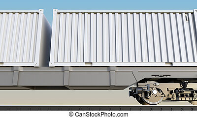 Cargo train and blank white containers. Railway transportation. 3D rendering