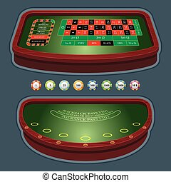 Roulette table blackjack - Casino table with chips and cards
