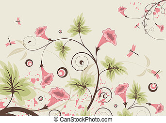 Flower background with dragonfly, element for design, vector...