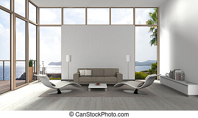 contemporary living room with glass front windows
