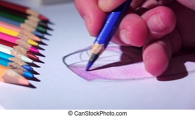 Designer smooth strokes complements blue pencil sketch....