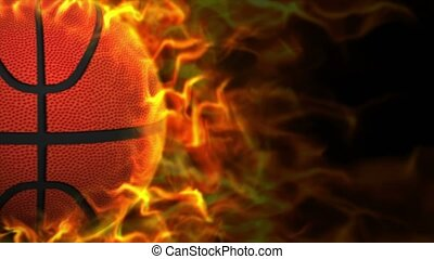 Fiery BASKET BALL Animation, Rendering, Background, Loop,