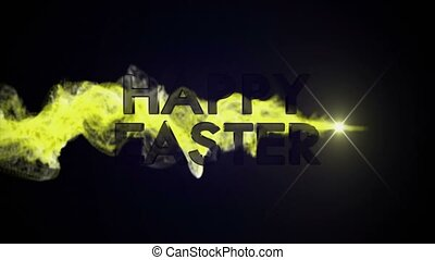 Happy Easter Gold Text Animation, Rendering, Background, 4k