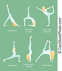 Flexible Blonde Woman Yoga Set - Flexible blonde woman yoga...