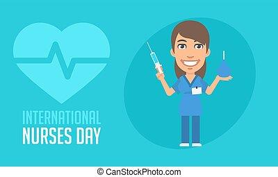 International Nurses Day Nurse Holding Syringe and Enema....