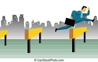 business obstacles - Businessman jumping over hurdles