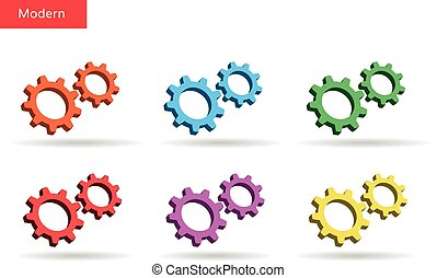 3d colorful gears set. Market