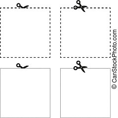 Scissors cutting the paper the square shape