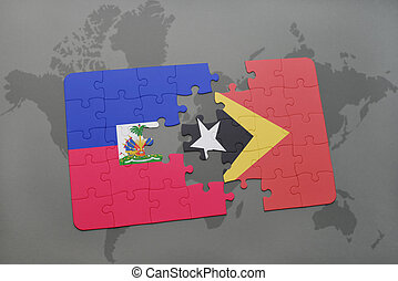 puzzle with the national flag of haiti and east timor on a world map