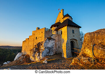 medieval castle at sunset in Bobolice, Poland