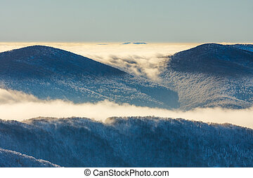 Inversion in the Bieszczady mountains, Poland, Europe