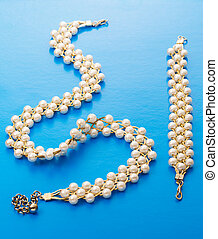 Necklace and wristband with white beads - Necklace and...