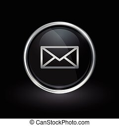 Email delivery envelope icon inside round silver and black...