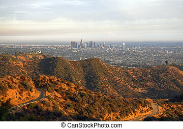 Griffith Park and Los Angeles - Warm afternoon light and...